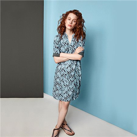 Sandwich Graphic Dot Print Dress Blue  - Click to view a larger image