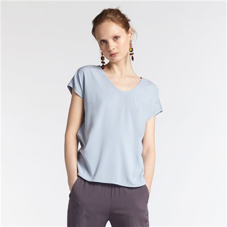 Sandwich V Neck Top Light Blue  - Click to view a larger image