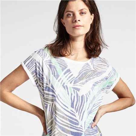 Sandwich Leaf Print Top Blue  - Click to view a larger image