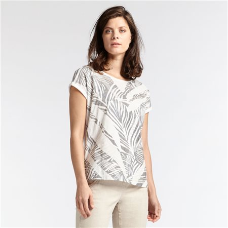 Sandwich Leaf Print Top Grey  - Click to view a larger image
