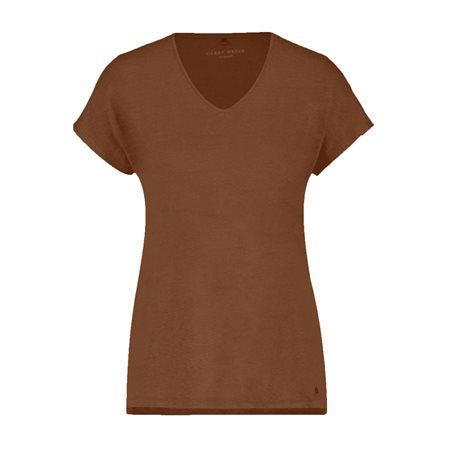 Gerry Weber Linen V-Neck Top Tobacco  - Click to view a larger image