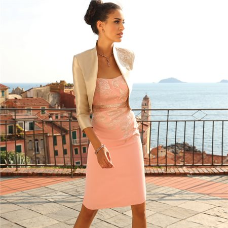 Linea Raffaelli Embroidered Dress And Bolero Pink  - Click to view a larger image