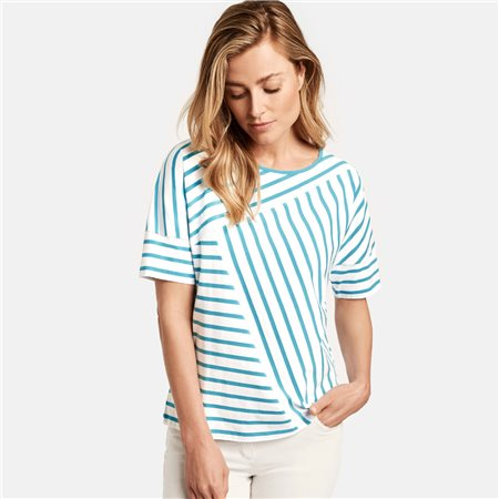 Gerry Weber Panel Stripe Top White  - Click to view a larger image