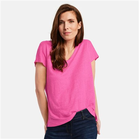 Gerry Weber Linen V-Neck Top Pink  - Click to view a larger image