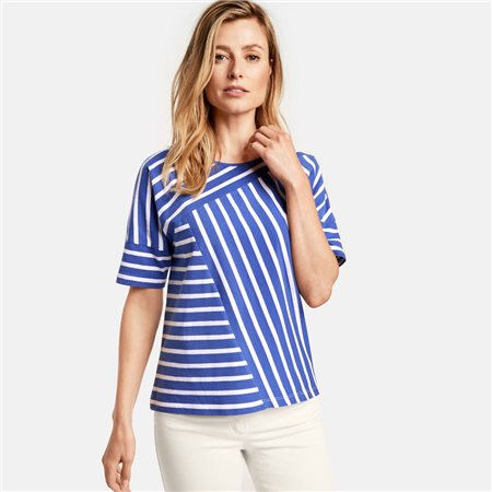 Gerry Weber Panel Stripe Top Blue  - Click to view a larger image