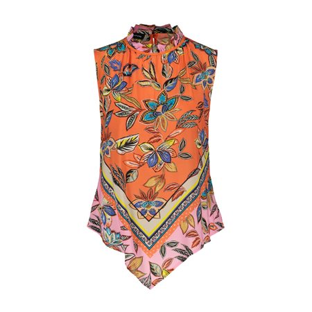 Taifun Floral Print Sleevless Top Orange  - Click to view a larger image
