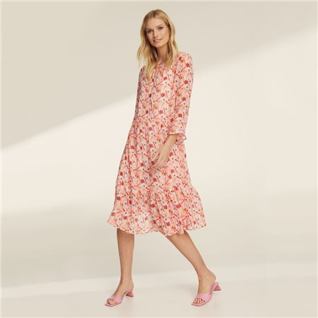 Taifun Flower Print Bell Cuff Sleeve Dress Pink  - Click to view a larger image
