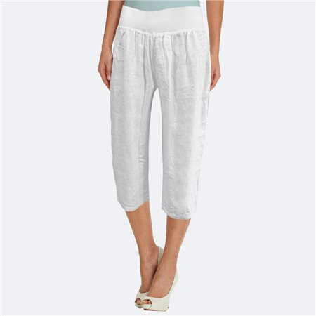 Bicalla Linen Cropped Trouser White  - Click to view a larger image