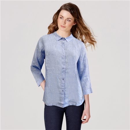Bicalla Linen Blouse Blue  - Click to view a larger image