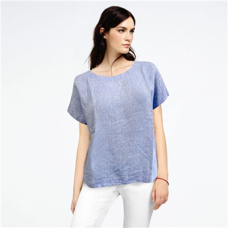 Bicalla Linen Blouse Blue  - Click to view a larger image