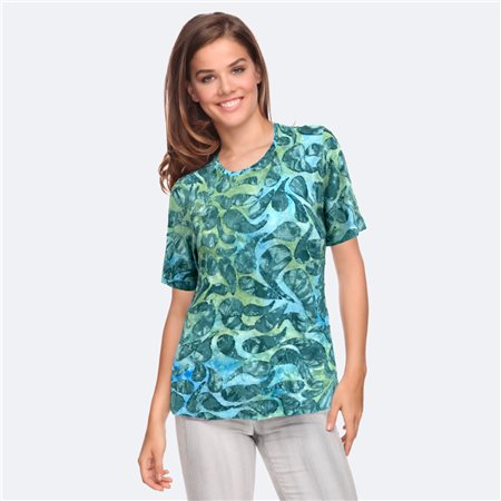 Bicalla Leaf Print Textured Top Turquoise  - Click to view a larger image