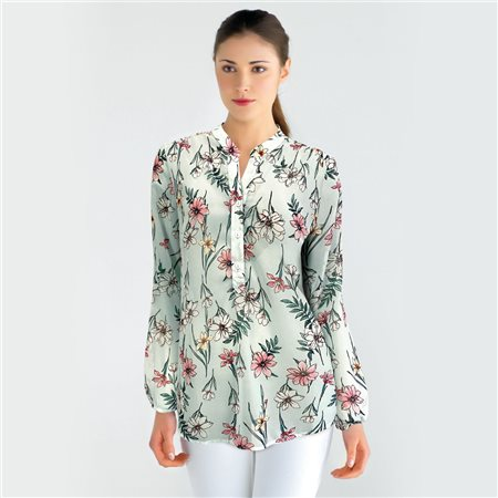 Bicalla Floral Print Blouse Mint  - Click to view a larger image