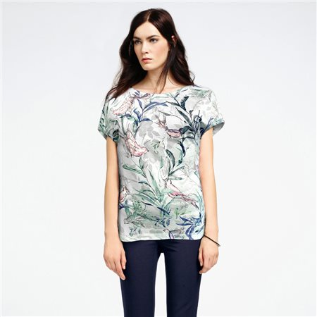 Bicalla Bird Print Top Turquoise  - Click to view a larger image