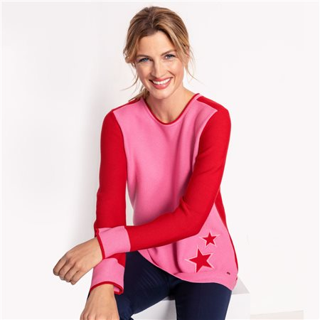Olsen Colourblock Star Jumper Pink  - Click to view a larger image