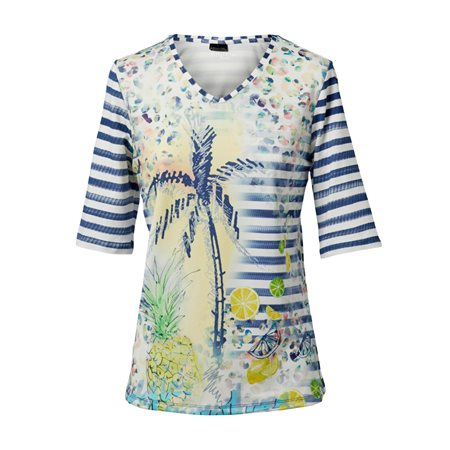 Lebek V Neck Pattern Top With Contrast Sleeves Blue  - Click to view a larger image