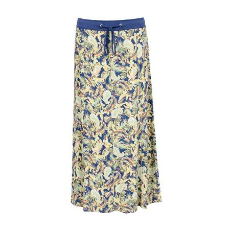 Lebek Leaf Print Skirt Blue  - Click to view a larger image