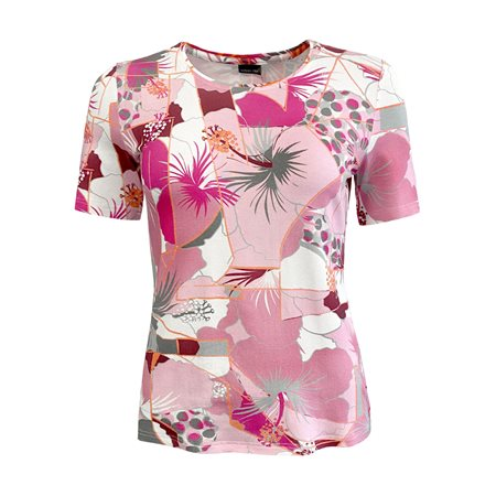 Lebek Multi Print Top Pink  - Click to view a larger image