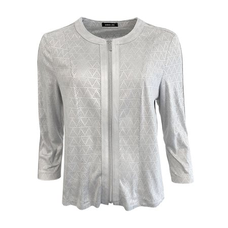 Lebek Soft Touch Zip Jacket Silver  - Click to view a larger image