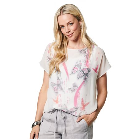 Lebek Loose Fit Butterfly Blouse Off White  - Click to view a larger image