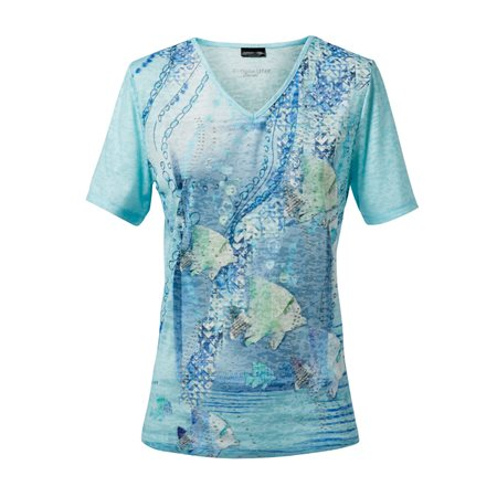 Lebek V Neck Top With Sea Print Blue  - Click to view a larger image