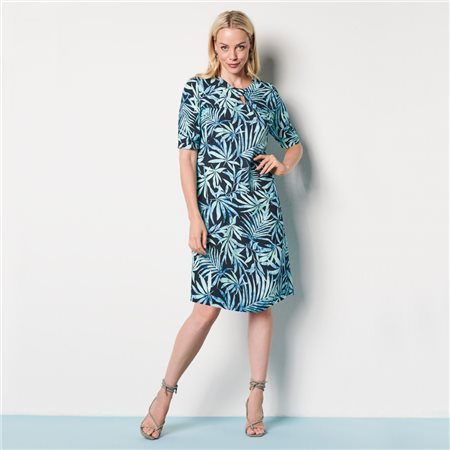 Lebek Leaf Print Dress With Keyhole Neckline Navy  - Click to view a larger image