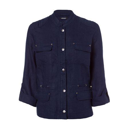 Olsen Linen Jacket Navy  - Click to view a larger image