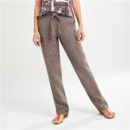 Olsen Linen Trousers With Tie Belt Brown  - Click to view a larger image