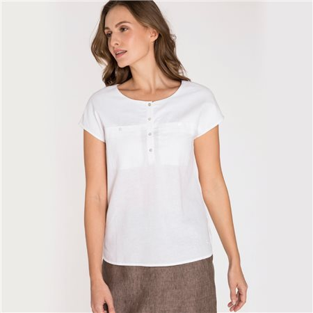 Olsen Round Neck Top With Front Pockets White  - Click to view a larger image