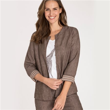 Olsen Linen Jacket With Pockets On Front Brown  - Click to view a larger image