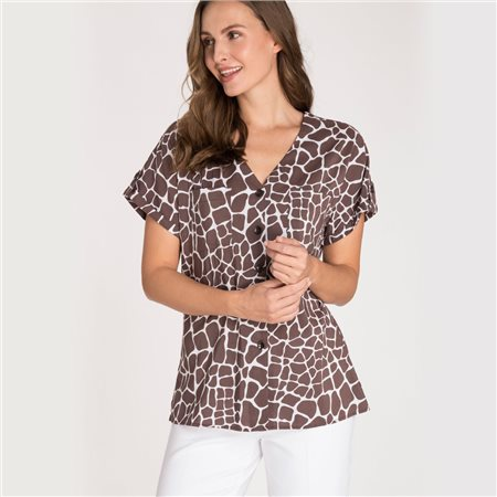Olsen Short Sleeve Blouse With Giraffe Print Brown  - Click to view a larger image