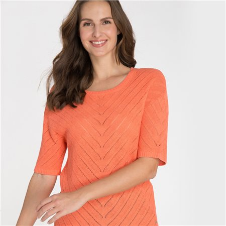 Olsen Crochet Knit Jumper Orange  - Click to view a larger image