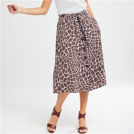 Olsen A Line Animal Print Skirt Brown  - Click to view a larger image
