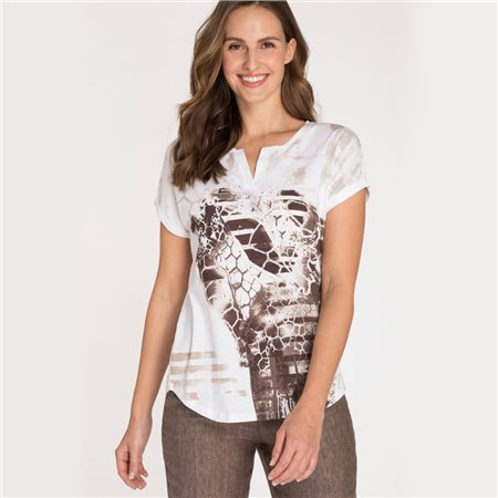 Olsen Top With Giraffe Print Brown  - Click to view a larger image