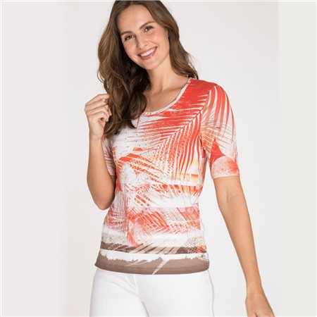 Olsen Top With Palm Tree Print Red  - Click to view a larger image