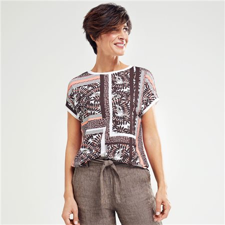 Olsen Mixed Print Top Brown  - Click to view a larger image