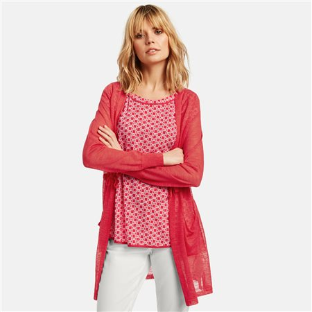 Taifun Cardigan With Drawstring Waist Coral  - Click to view a larger image