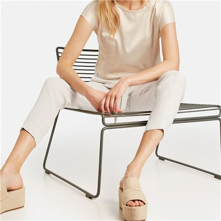 Taifun Linen Blend Trousers Beige  - Click to view a larger image