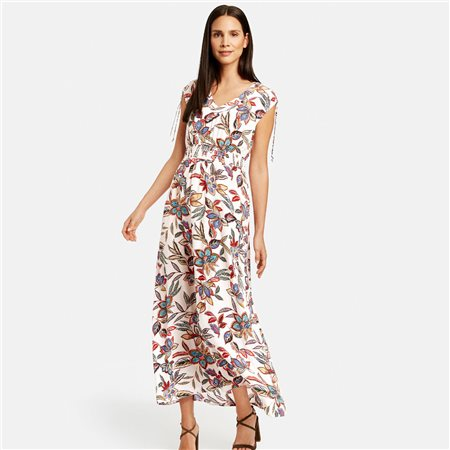 Taifun Floral Dress With Tie Shoulders Beige  - Click to view a larger image
