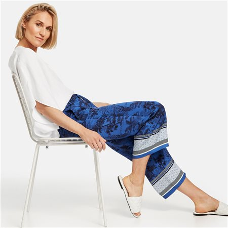 Gerry Weber Palm Tree Printed Trousers Blue  - Click to view a larger image