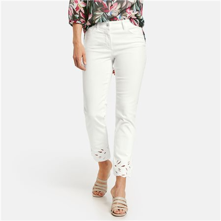Gerry Weber Jeans With Embroidered Hem Off White  - Click to view a larger image