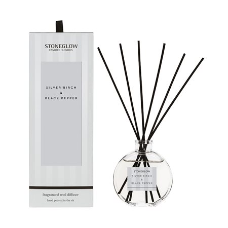 Stoneglow Modern Classics Silver Birch & Black Pepper Reed Diffuser Silver  - Click to view a larger image