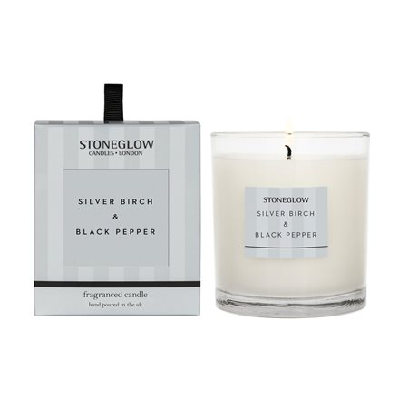 Stoneglow Modern Classics Silver Birch & Black Pepper Candle Silver  - Click to view a larger image