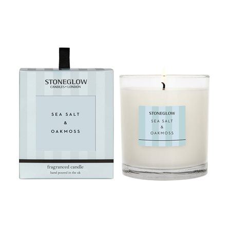 Stoneglow Modern Classics Sea Salt & Oakmoss Candle Blue  - Click to view a larger image