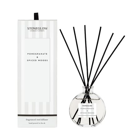 Stoneglow Modern Classics Pomegranate & Spiced Woods Reed Diffuser White  - Click to view a larger image