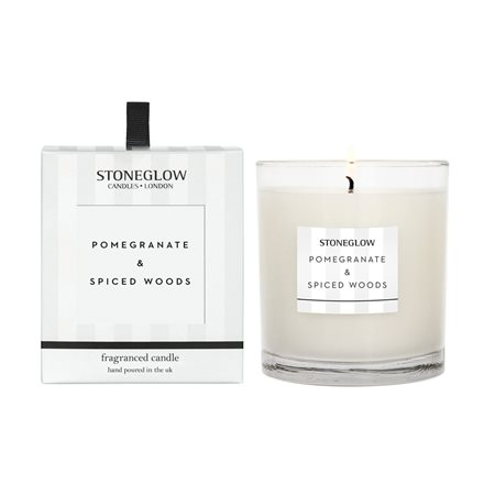 Stoneglow Modern Classics Pomegranate & Spiced Woods Candle White  - Click to view a larger image