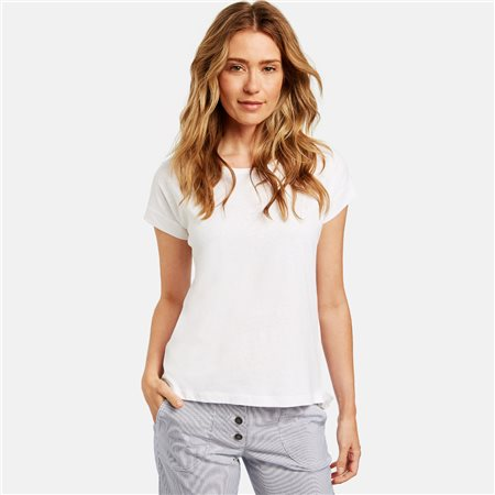 Gerry Weber Linen Mix Top White  - Click to view a larger image