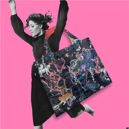 Loqi World Map Bag Pink  - Click to view a larger image