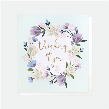 Caroline Gardner Floral Garland Thinking Of You White  - Click to view a larger image