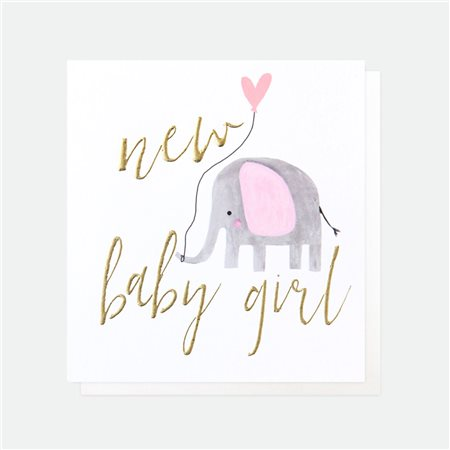 Caroline Gardner Elephant Balloon New Baby Girl White  - Click to view a larger image