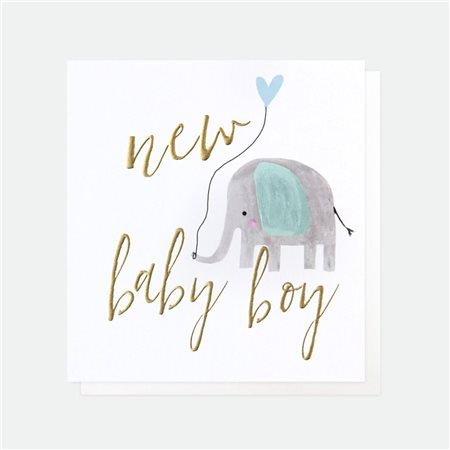 Caroline Gardner Elephant Balloon New Baby Boy White  - Click to view a larger image
